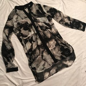 Black and gray sheer tunic size medium